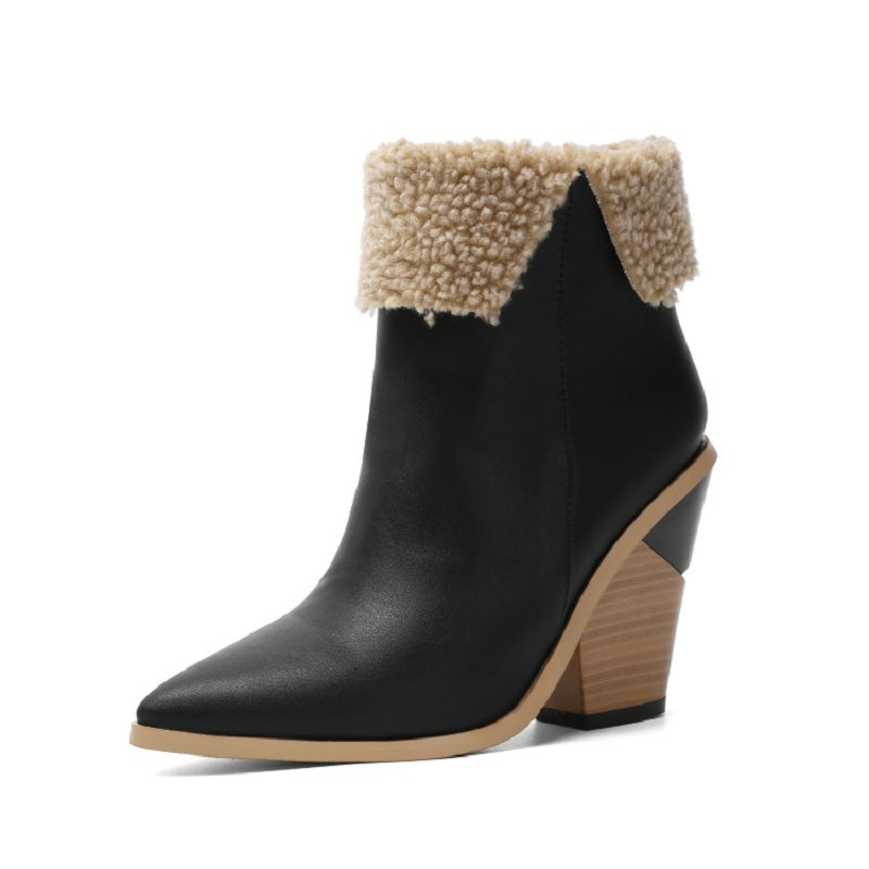 Femme Bout Rond Bottines compensées Chunky Talons Hauts Casual antidérapants Chaussures